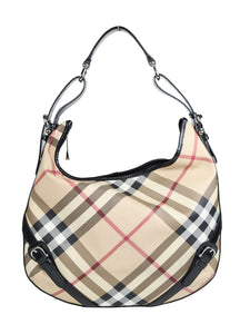 Burberry Leather Hobo Bag in Nova Check Pattern