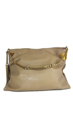 Gucci 1970 Shoulder Bag in Beige Leather and Gold Accents on the Sides and Interior Lined with Canvas