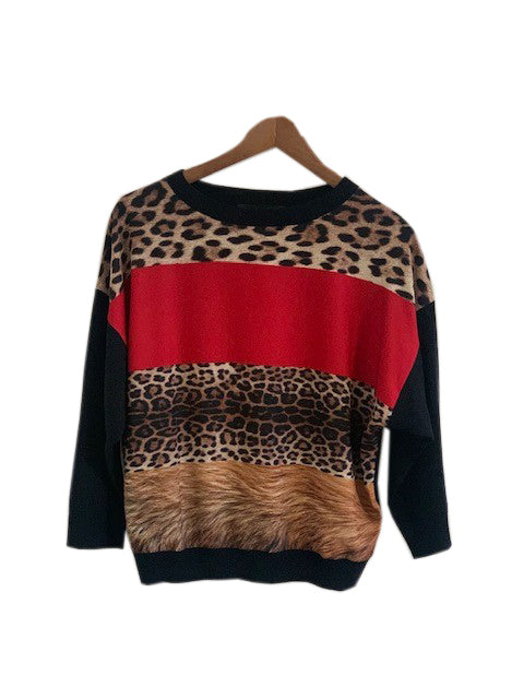 Moschino Black, Red and Leopard 100% Virgin Wool Blouse Size 38 (EU)