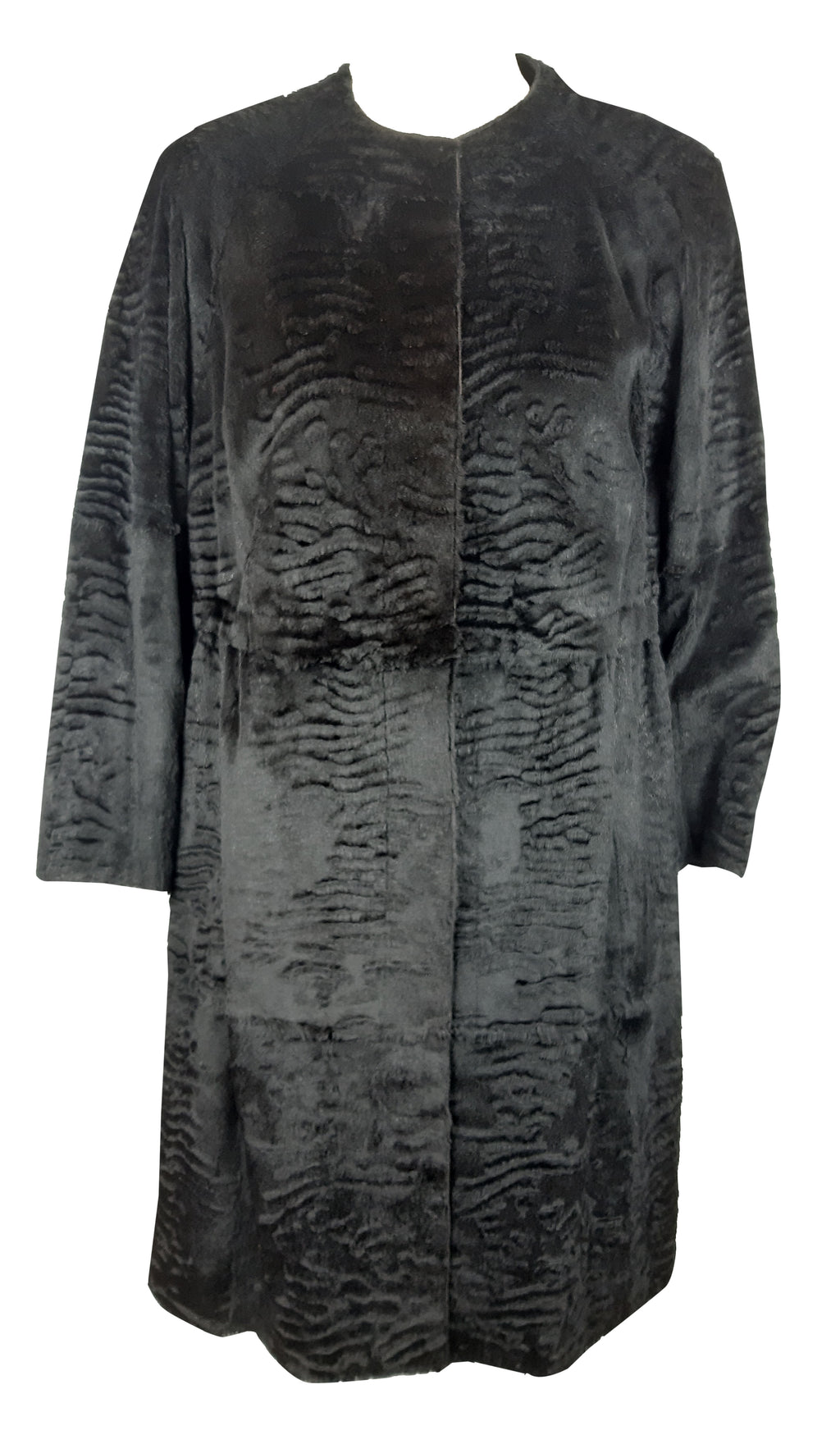 Black Fur Coat with Zebra Print Interior Size M/L (INT)