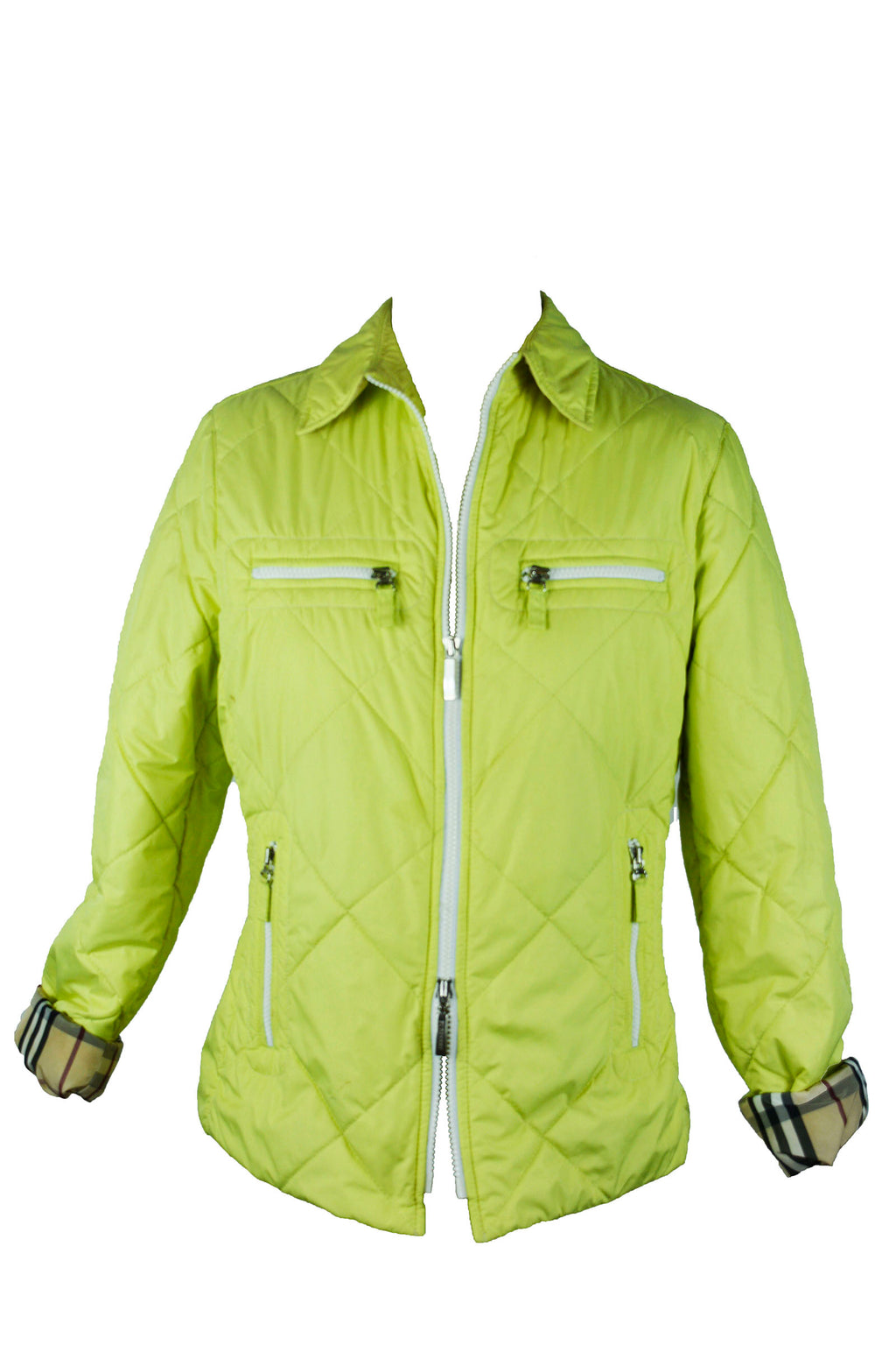 Burberry Waterproof Quilted Jacket in Acid Green and Check Lining Size 42 (EU)