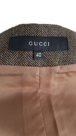 Gucci Wool Skirt in Green Herringbone Pattern, Leather Details, Front Zip and Pockets in Golden Size 36 (EU) 40 (IT)