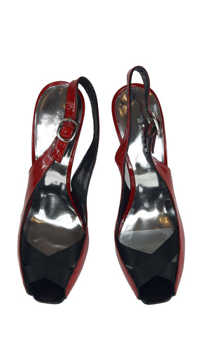 Barbara Bui Red Patent Leather Slingback Sandals Size 39 (EU)