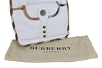 Burberry White Leather Shoulder Bag with Nova Check Contour