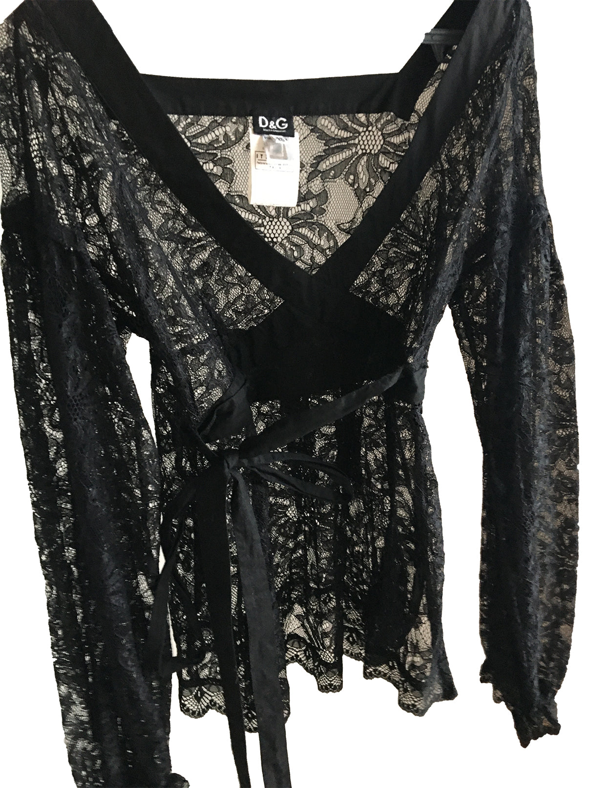 Dolce & Gabbana Black Lace Blouse with Belt and Flared Sleeve with Elastic Cuff  Size 36 (EU) 40 (IT)