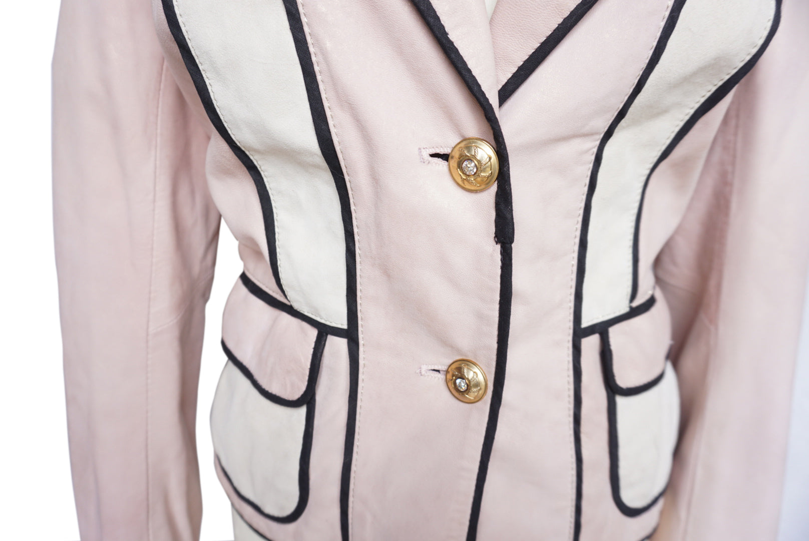 Roberto Cavalli Pink Leather Jacket with Lace Up in the Back and Golden Details Size 42 (EU)