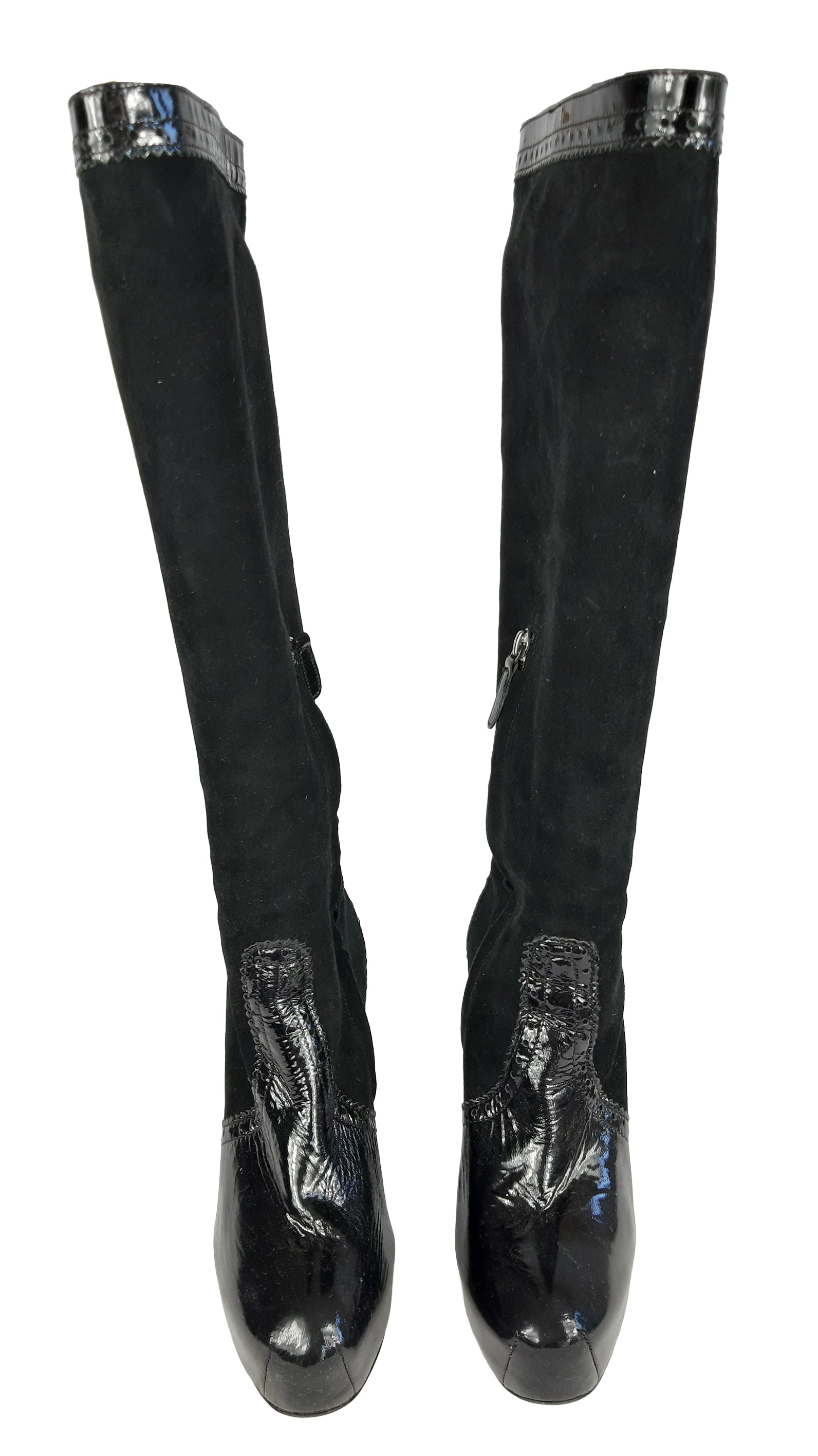 Philosophy by Alberta Ferretti Suede and Patent Leather Knee-High Boots Size 36 (EU)