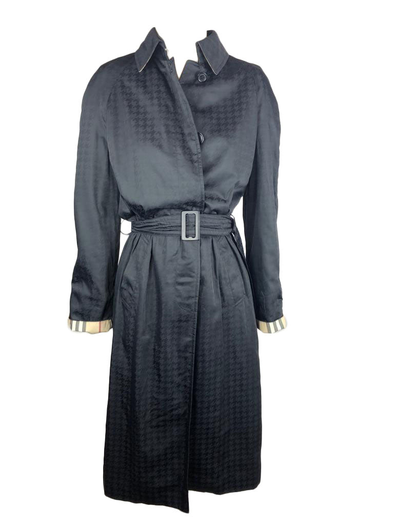 Burberry Black Trench Coat in Black Pattern and Vintage Check Lining Size 38 (EU)