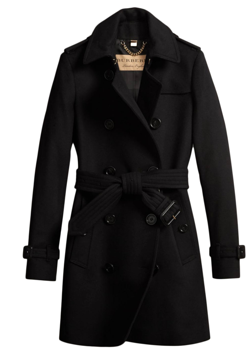 Burberry Virgin Wool and Cashmere Black Timeless Trench Coat Size 42 (EU)