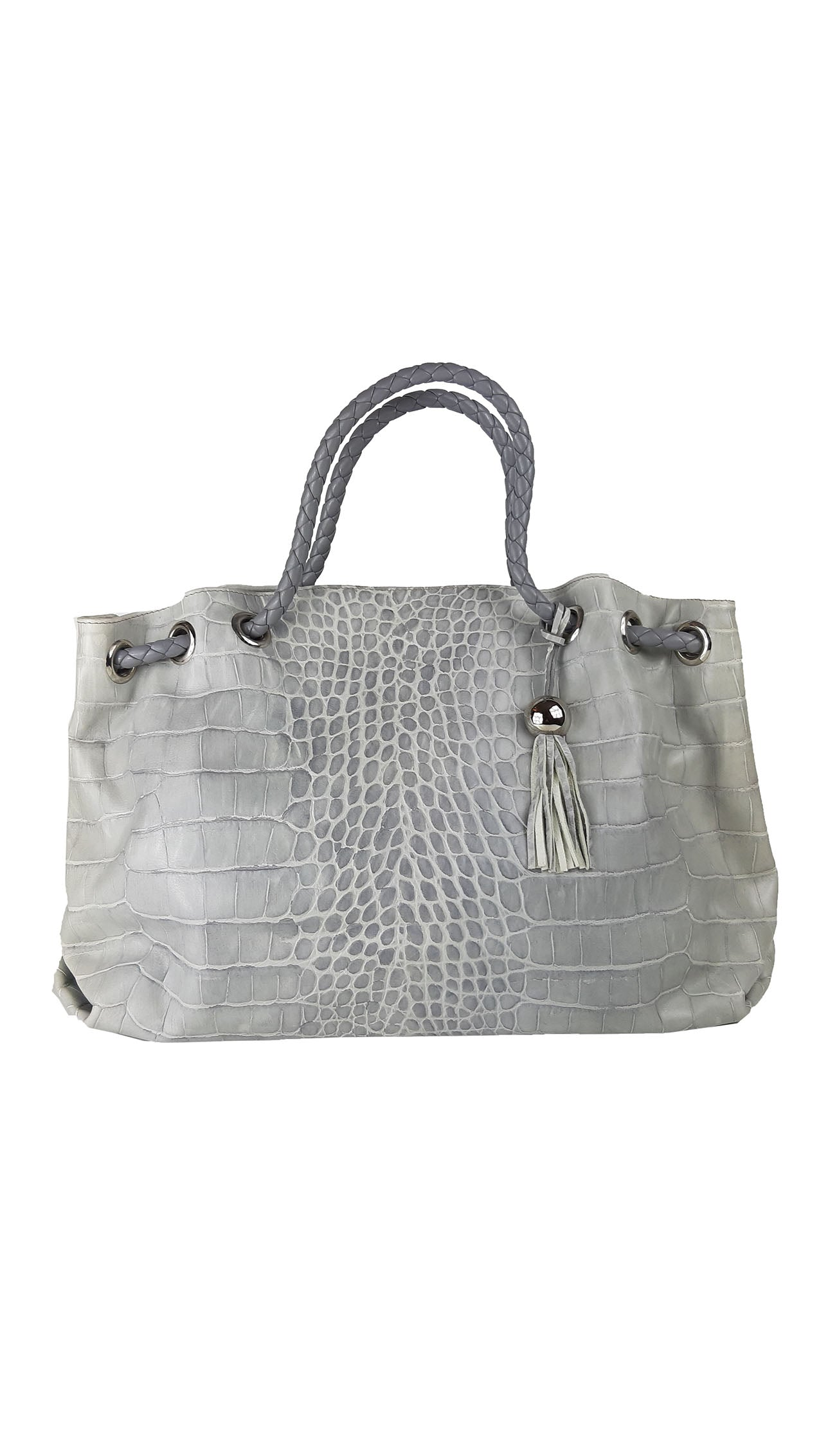 Furla Grey Handbag in Crocodile Leather