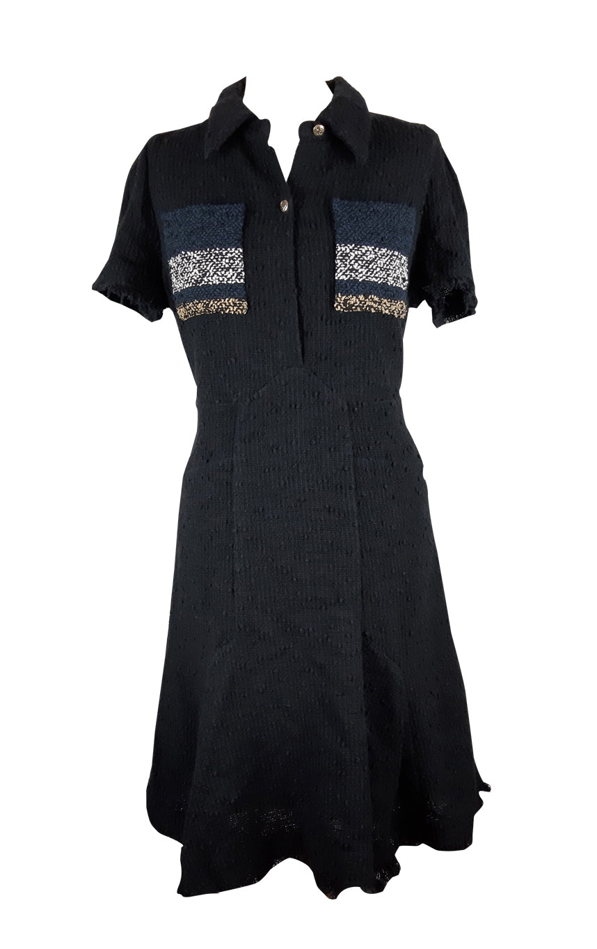 Sonia Rykiel Tweed Black Dress with Multicolour Pockets Size 44 (EU)