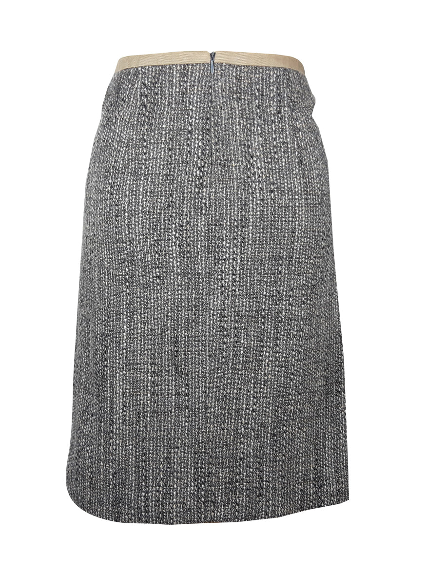 S' Max Mara Tweed Skirt with Side Pockets Fits Size 40 (EU)