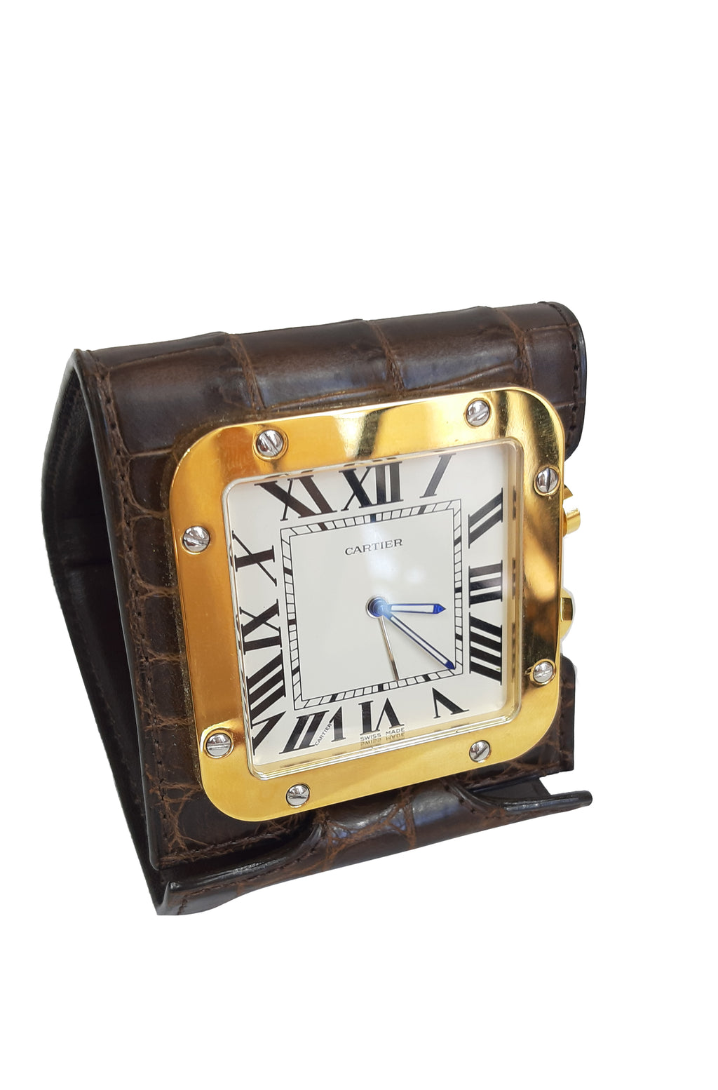 Cartier Travel Alarm Clock, Quartz Movement, Sapphire Glass, Roman Numerals and Dark Brown Crocodile Leather