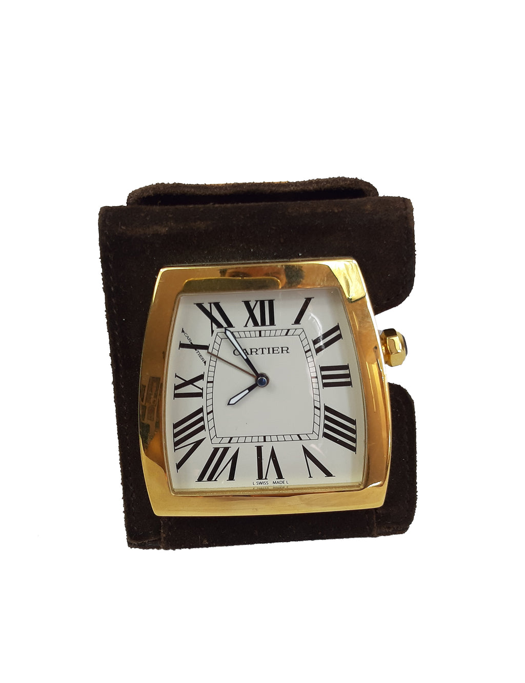 "Cartier ""La Dona"" Travel Alarm Desk Clock, Quartz Movement with Folding Brown Suede Case"