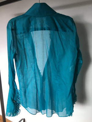 Dolce & Gabbana Turquoise Long Sleeve Blouse with Shiny Cufflinks Size 40 (EU) 44 (IT)
