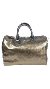 Salvatore Ferragamo Bronze/Golden Monogram Leather Bag with Internal slip pocket