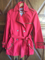 Carolina Herrera Trench Coat in Pink and Leather Details Size 40 (EU)