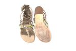 Luis Onofre Beige and Green Studded Flat Sandals Size 36 (EU)