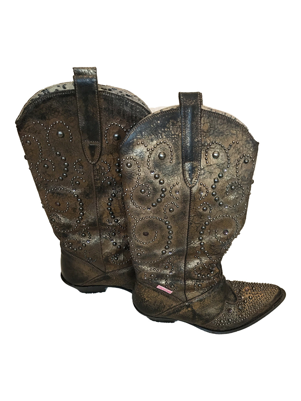 ROBERTO CAVALLI Angels Texan Boots in Leather with Diamonds and Metals Applications Size 38 (EU)