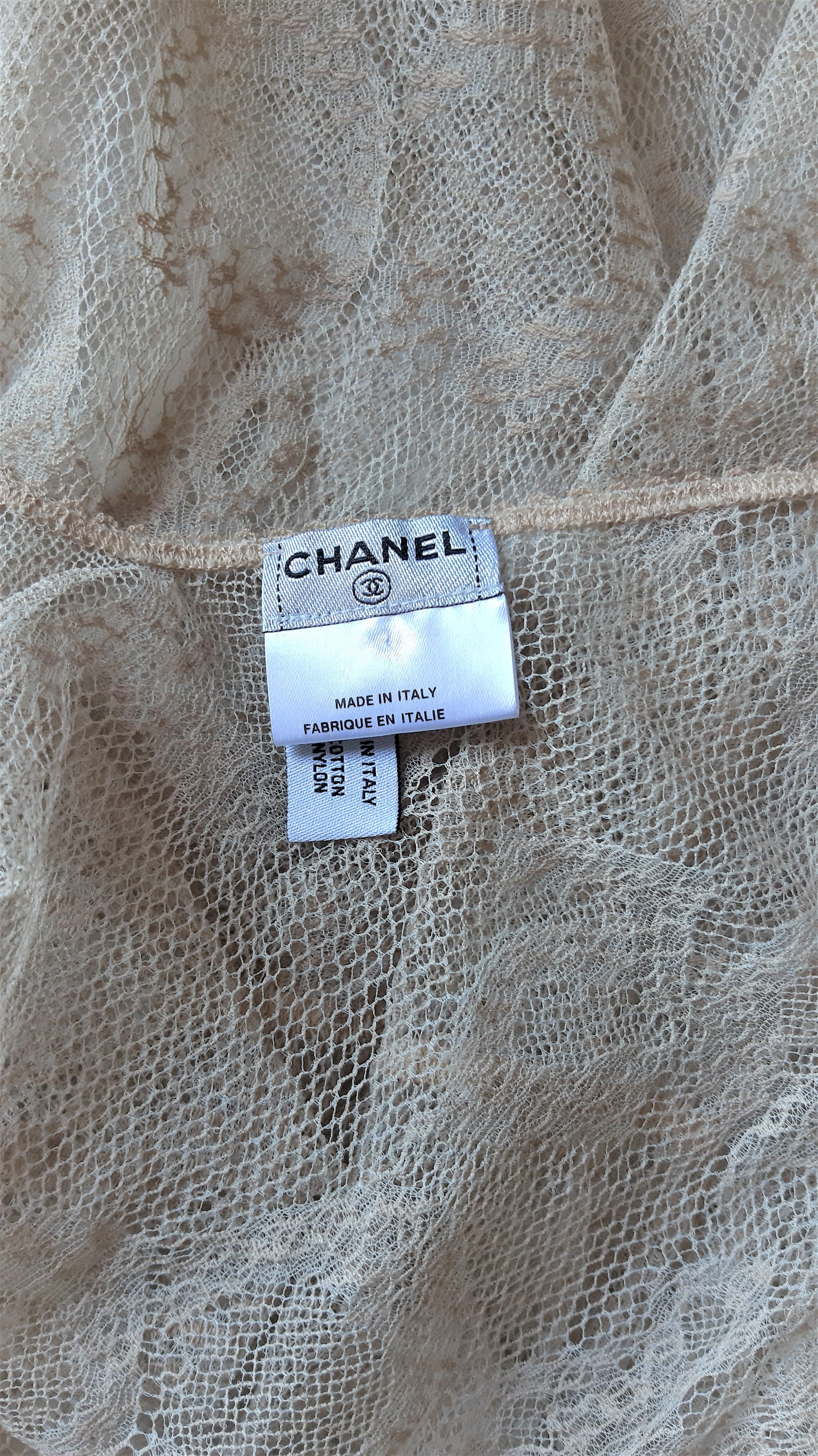 Chanel Beige Lace Top With Pastel Ribbons Size 38 (EU)