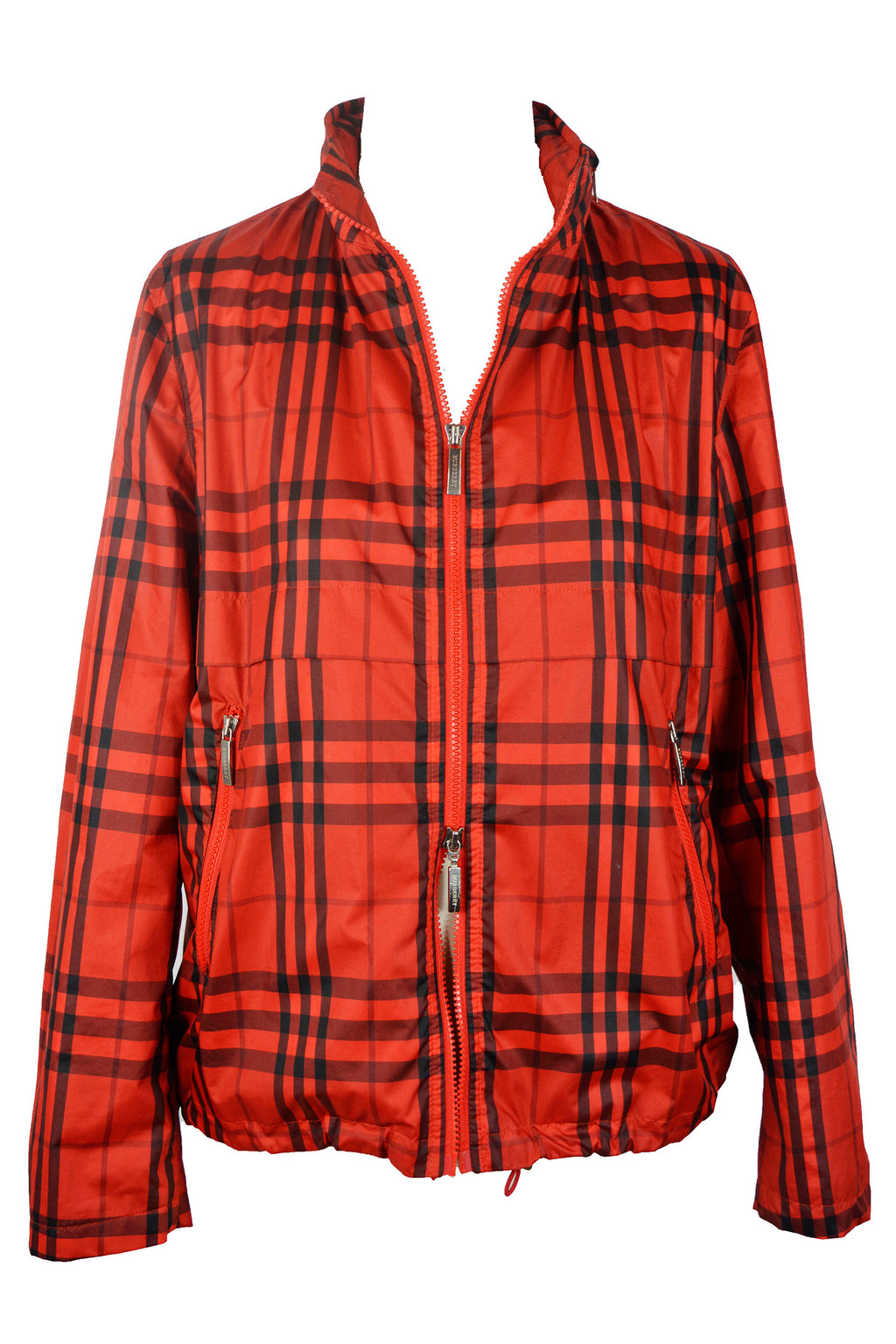 Burberry Impermeable Jacket in Red and Black Check and Zipped Hood Size 40 (EU)