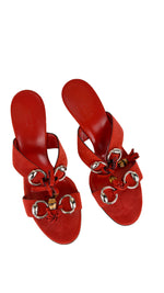 Gucci Suede Red Sandals with Wood and Silver Details Size 39C (EU)