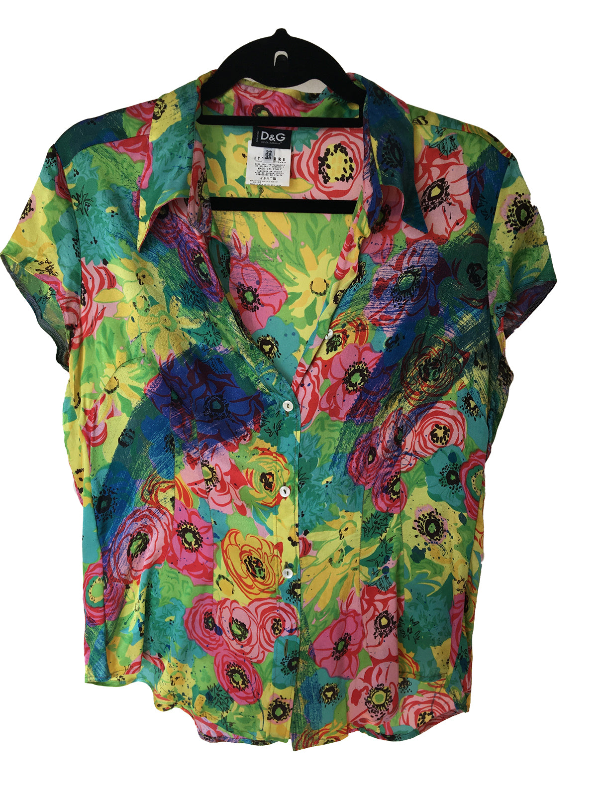Dolce & Gabbana Multi Colored Short Sleeve Blouse Size 42 (EU) 46 (IT)