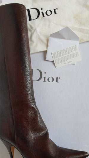 Dior High Heel Boots in Leather Size 38 (EU)