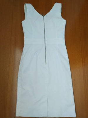 Dolce & Gabbana White Cotton Dress  with Logo Details in the Belt Size 36 (EU)
