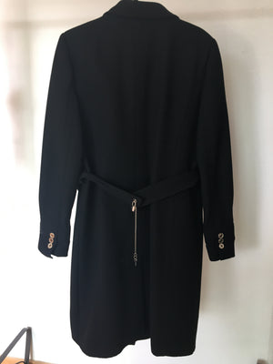 Dolce & Gabbana Black Overcoat with Padlock Details and Keys on the Handles Size 44 (EU) 48 (IT)