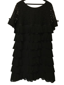 Edward Achour Paris Lace Ruffled Dress in Black Size 46 (EU)
