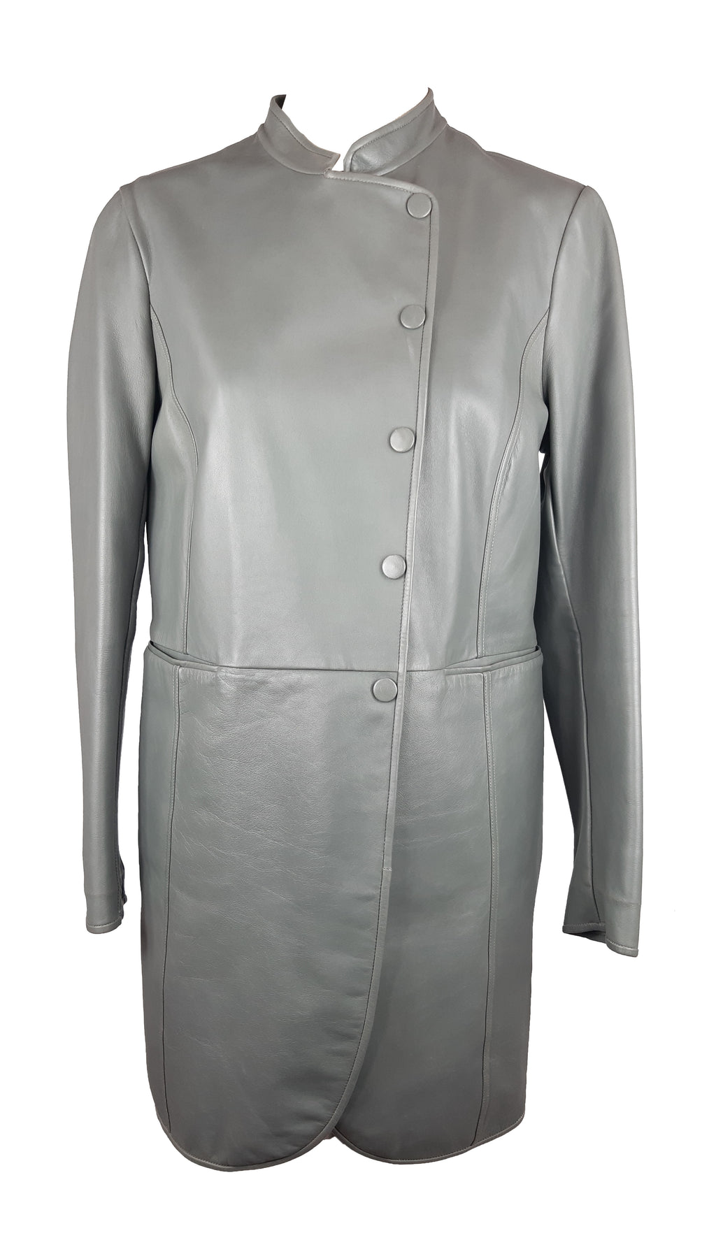 Emporio Armani Grey Leather Coat with Mandarin Collar Size 38 (EU)