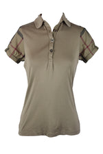 Burberry Polo Shirt in Dark Beige and Check Pattern Details Size M/L (INT)