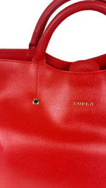Furla Red Handbag in Leather with Adjustable Strap