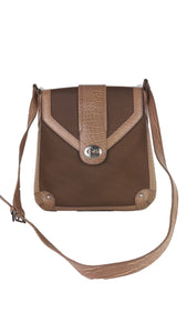 Pierre Cardin Cloth and Leather Shoulder Bag in Brown
