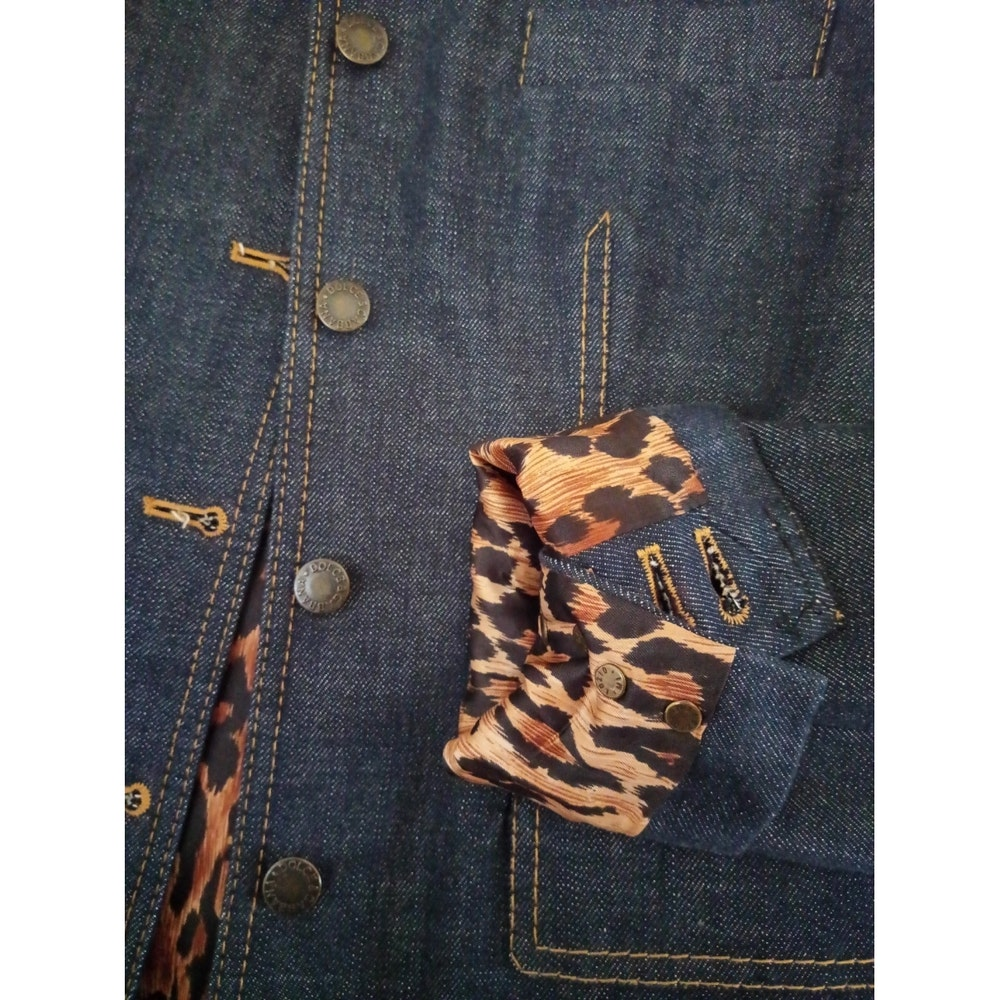 Dolce & Gabbana Denim Vintage Suit with Animal Print Lining Size 36 (EU)
