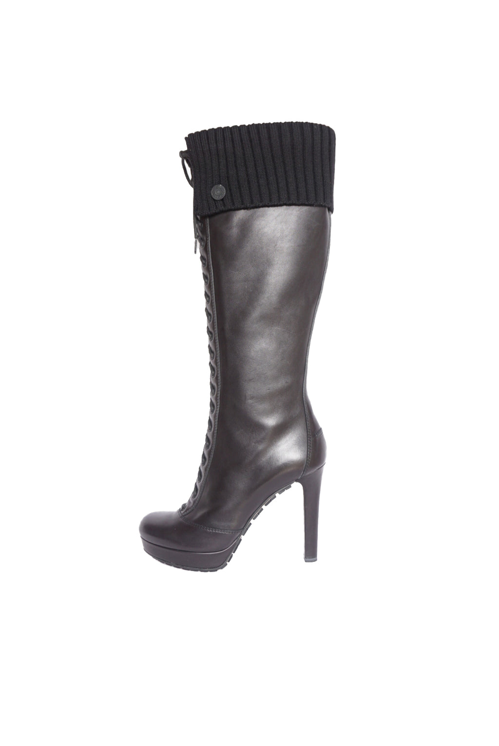 Gucci High Heel Black Boots in Leather and Wool  Size 39 (EU)