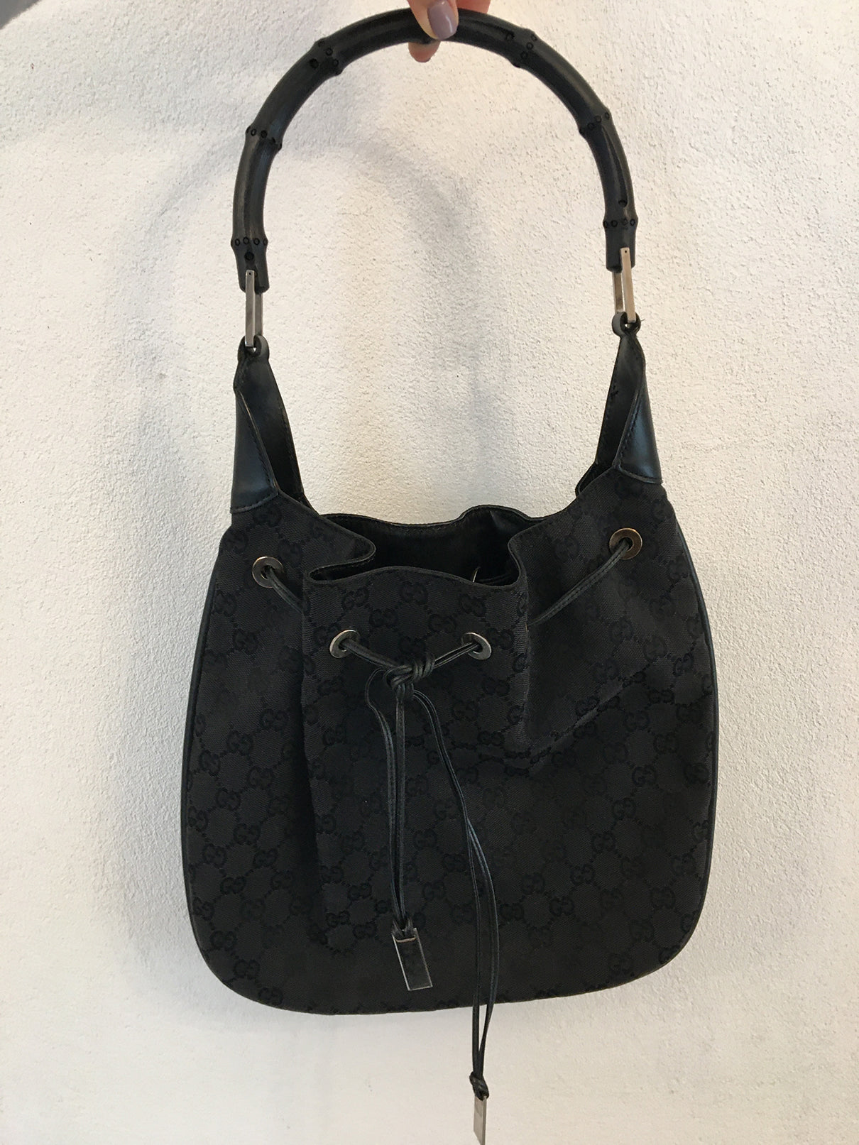 Gucci Black GG Fabric Bucket Bag with Bamboo Handle