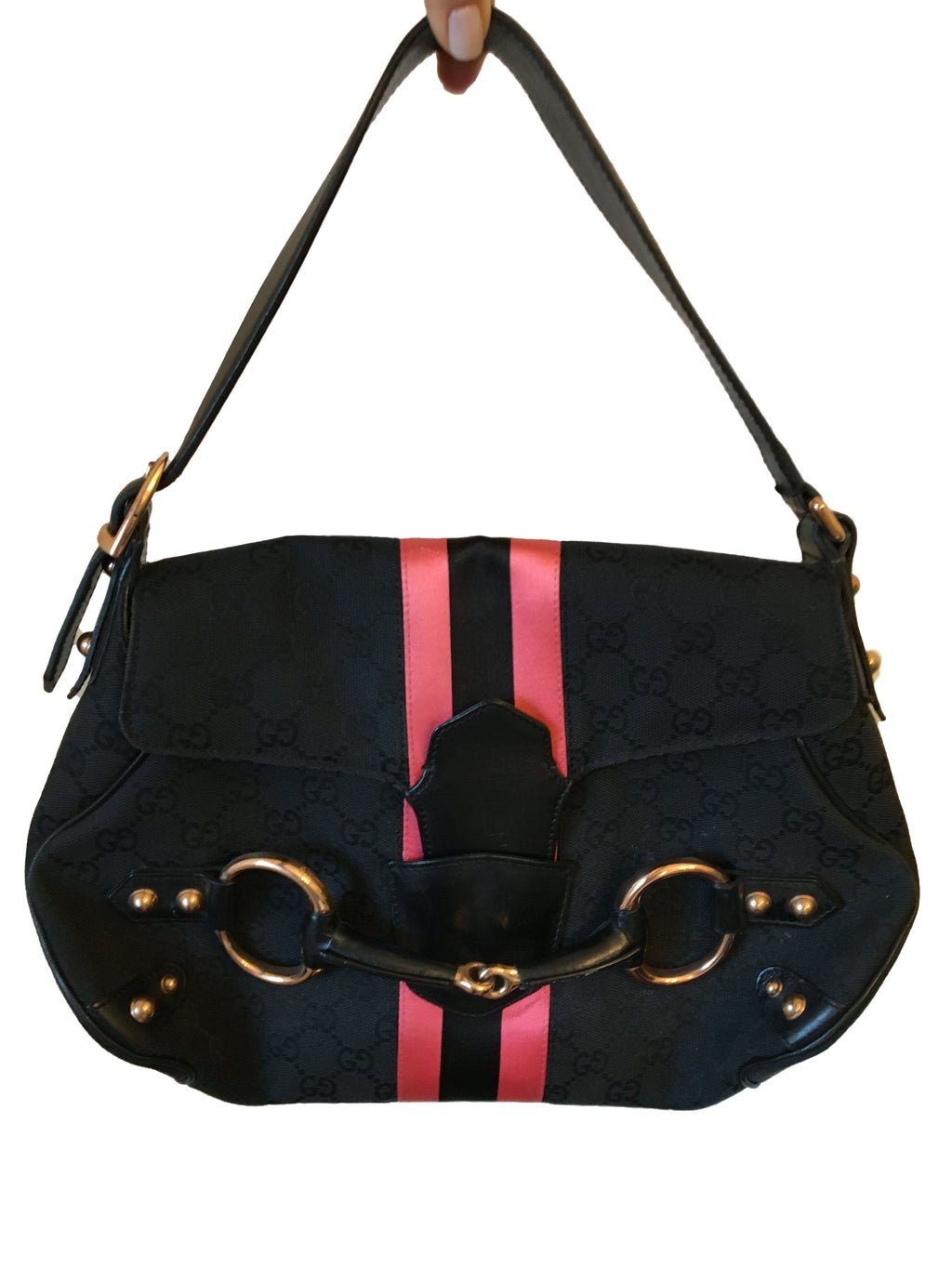 Gucci Black GG Fabric Bag with Pink Silk Stripes and Bronze Horsebit