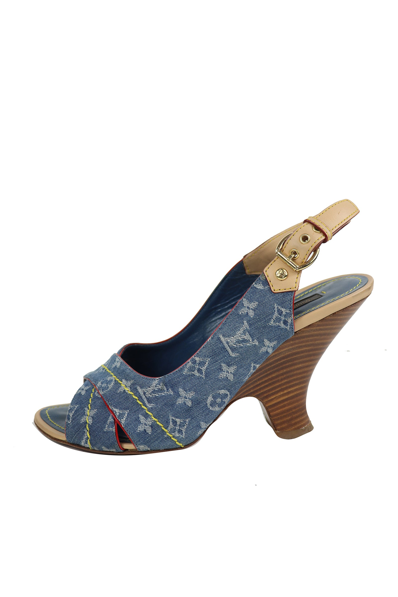 Louis Vuitton Logo Wedge Sandals in Denim,  Yellow Stitches and Red Contour Size 38 (EU)