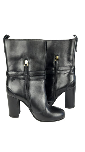 Twin Set by Simona Barbieri Leather Black Boots with adjustable ankle buckle Size 37 (EU)