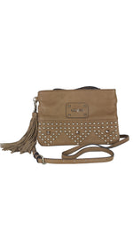 Guess Brown Clutch Bag with Golden Studs, Adjustable Strap and Fringes Closure