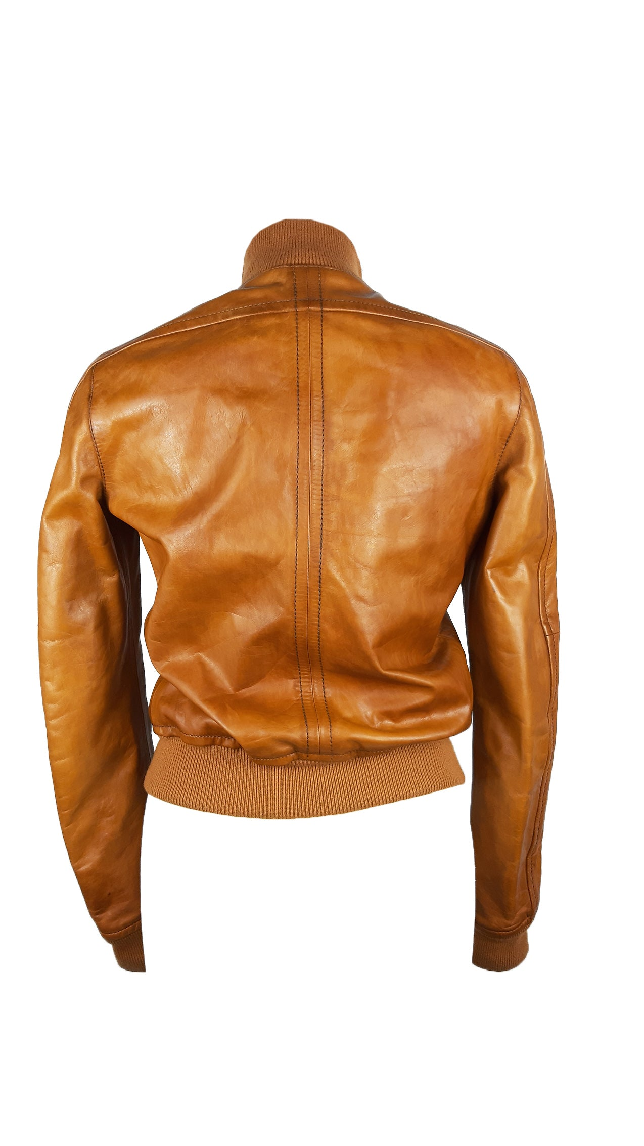 Dsquared2 Camel Leather Biker Jacket  with Golden Details and 2 Front Pockets Size 38 (EU) 42 (IT)