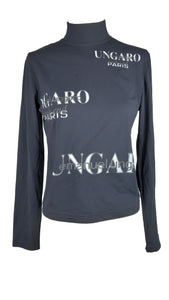 Emanuel Ungaro Blue Long Sleeved Top with White and Grey Letters Size 44 (EU)