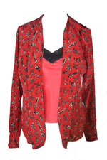 Moschino Cheap and Chic Red Patterned Blouse with Interior Lace Details Black Top Size 40 (EU)