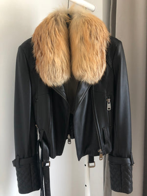 Jopel Leather Jacket in Black with Fur Collar Size 38 (EU)