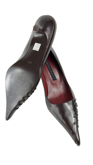Pura Lopez Brown Pointed Leather Mid Heel Shoes with Ribbons Size 39 (EU)