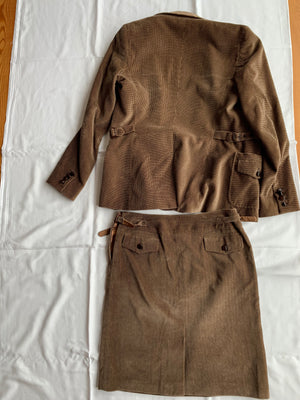 Max Mara Velvet Suit in Brown and Beige - Herringbone Skirt and Small Pied-de-poule Blazer Fits 38 (EU)