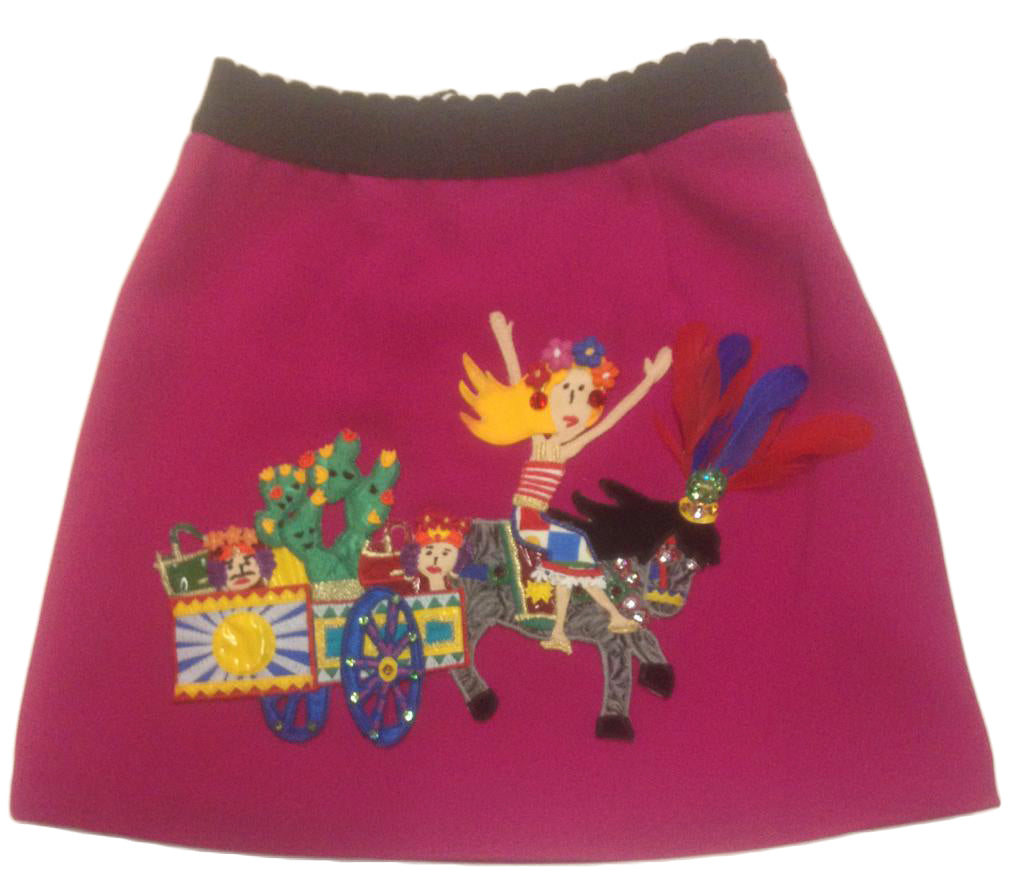 Dolce & Gabbana Pink Mini Me Carretto Siciliano Skirt Kids Size 5/6 Years
