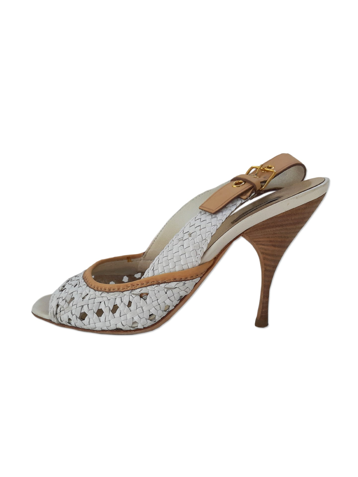 Miu Miu White and Beige Sandals Size 36,5 (EU)